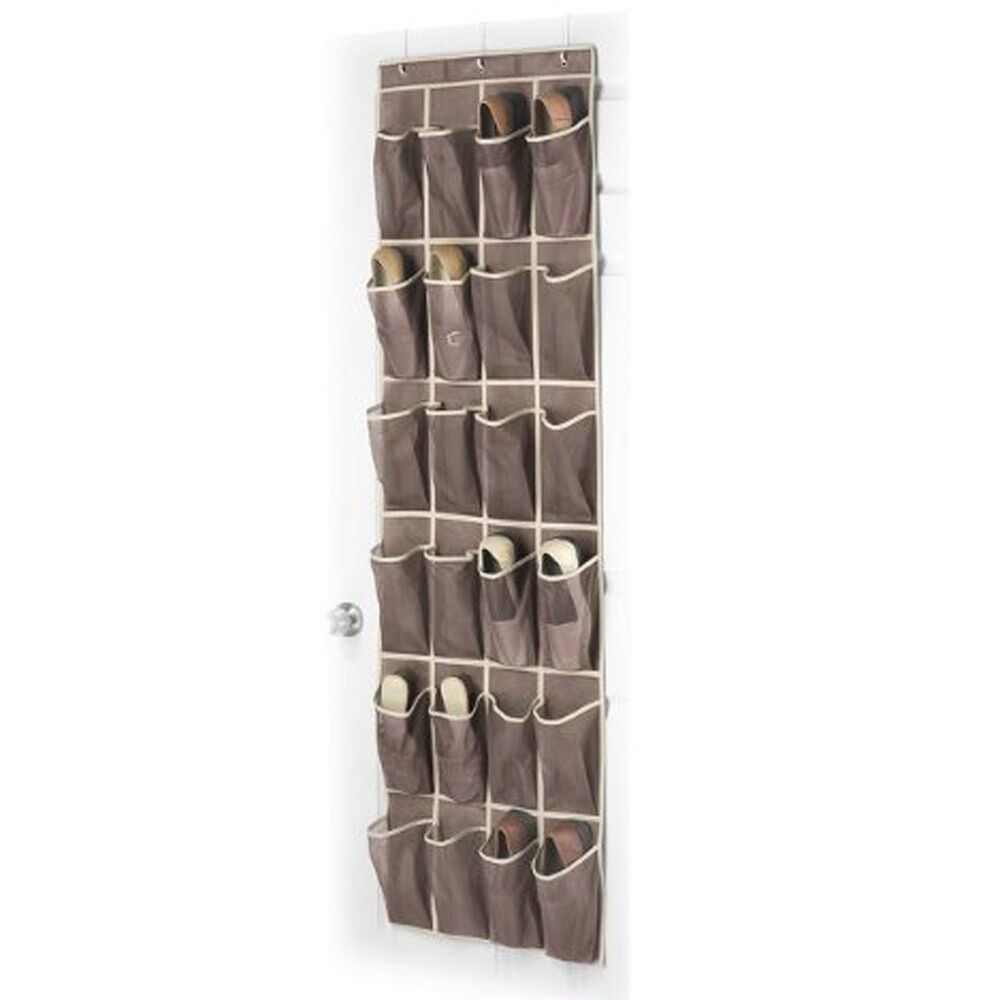 24 Pockets Over The Door Shoe Mesh Organizer Space Saving Collection Storage I Ebay
