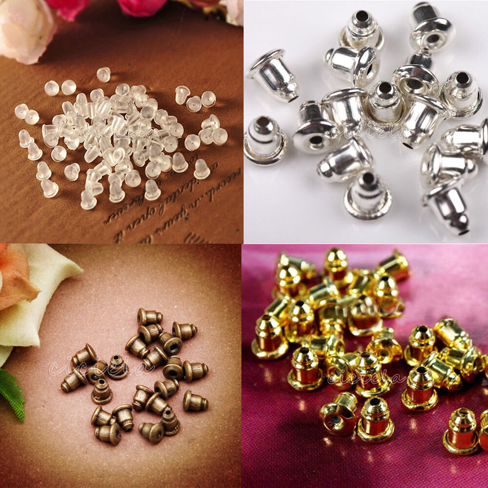 Wholesale 50 100 earring backs stoppers findings ear post for Earring supplies for jewelry making