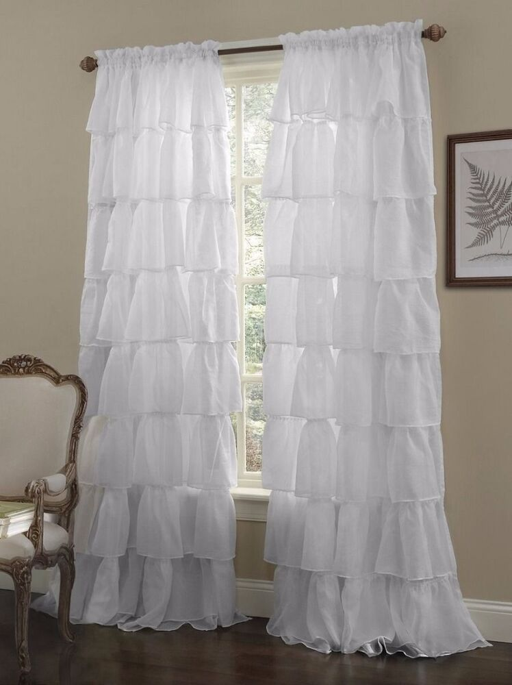White Shabby Crushed Voile Sheer Chic Ruffle Curtain