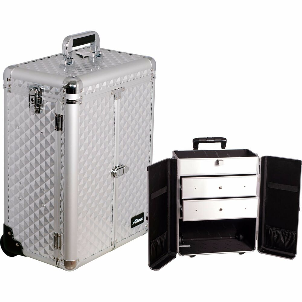 Professional Aluminum Rolling Makeup Cosmetic Case Wheeled ...