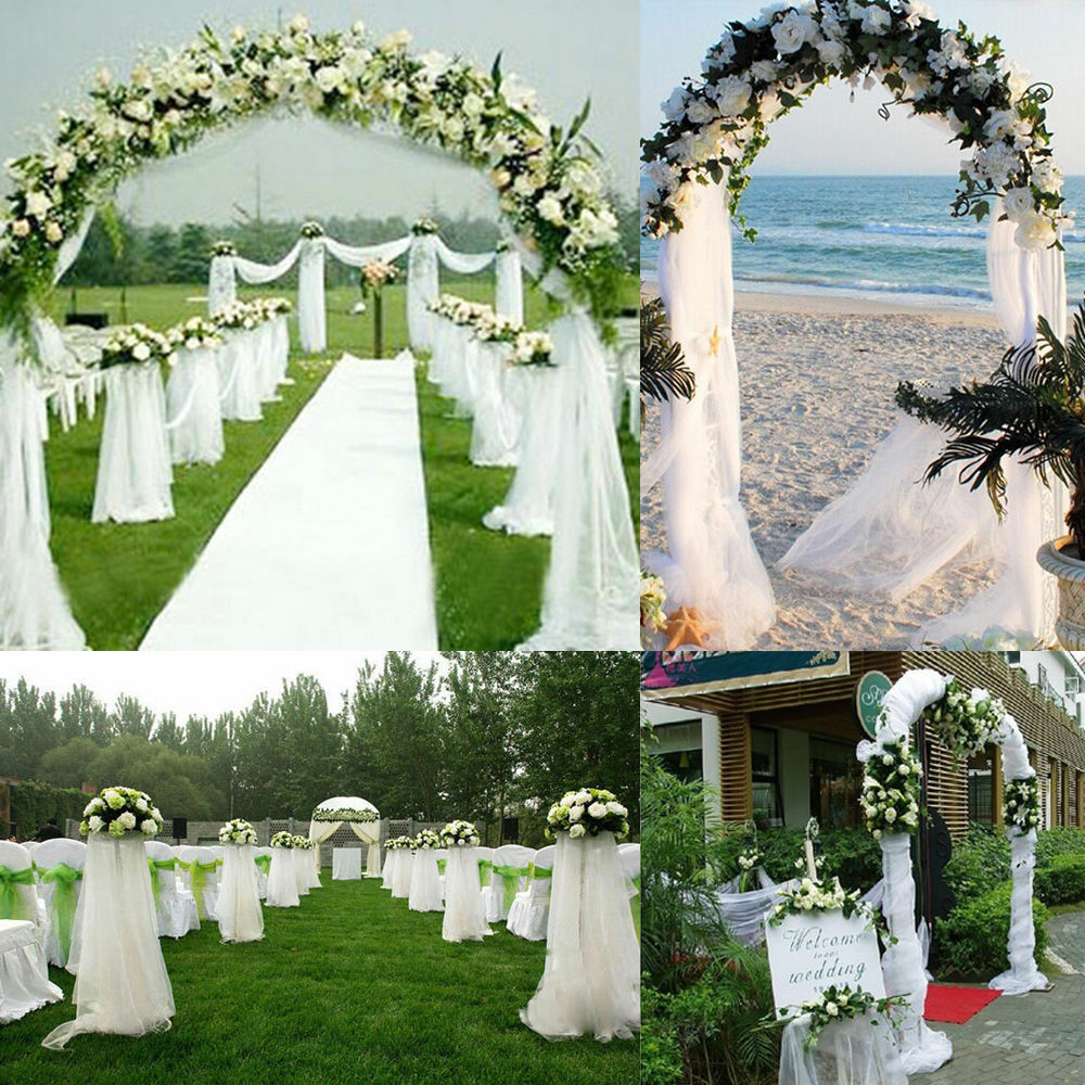 New 5M 10M Top Sheer Organza Fabric DIY Wedding Ceremony Bouquet Arch Deoration