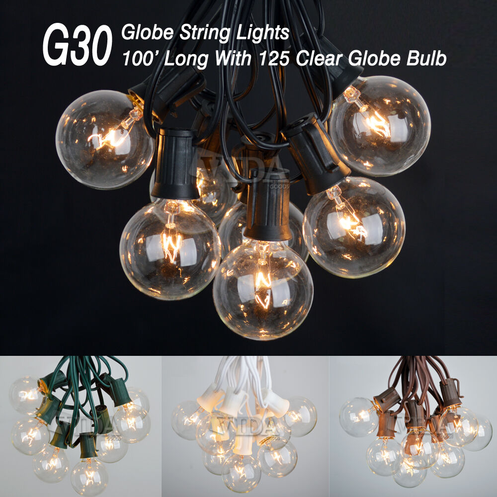 100 Foot G30 Outdoor Lighting Patio Party Globe String Lights-125 Clear Bulb Set eBay