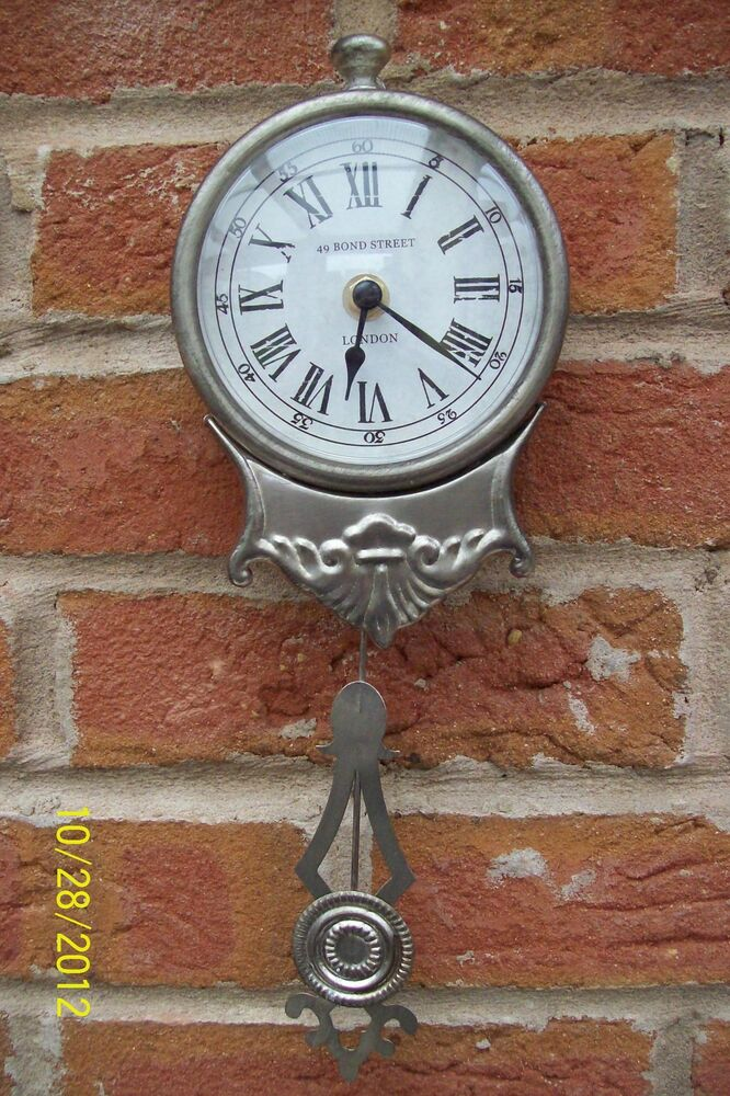 Shabby chic chrome vintage antique style pendulum wall clock ebay - Stylish pendulum wall clock ...