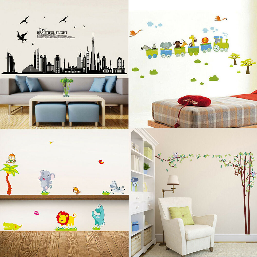 Diy removable vinyl animals wall stickers decal home mural for Children s room mural