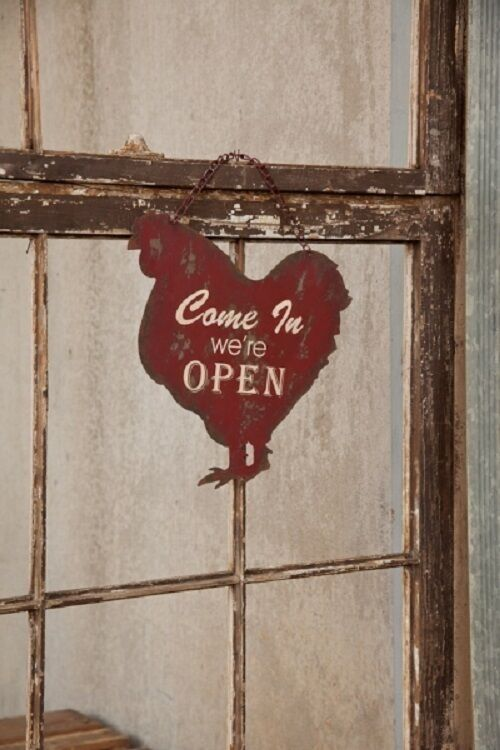 Open Closed Metal Hanging Chicken Sign Vintage Farmhouse
