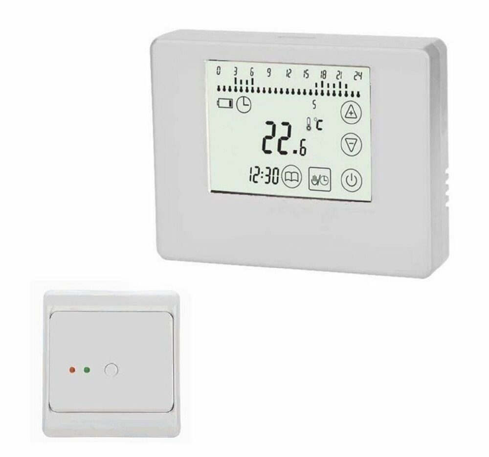 wireless thermostat set f r fussbodenheizung sender empf nger wei 789 829 ebay. Black Bedroom Furniture Sets. Home Design Ideas