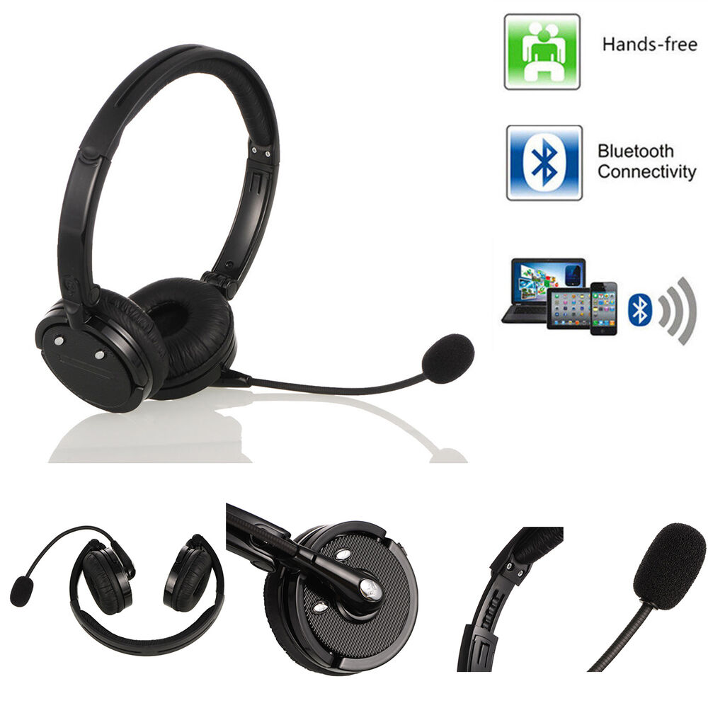 over head bluetooth wireless stereo boom mic headset headphone noise cancelling ebay. Black Bedroom Furniture Sets. Home Design Ideas