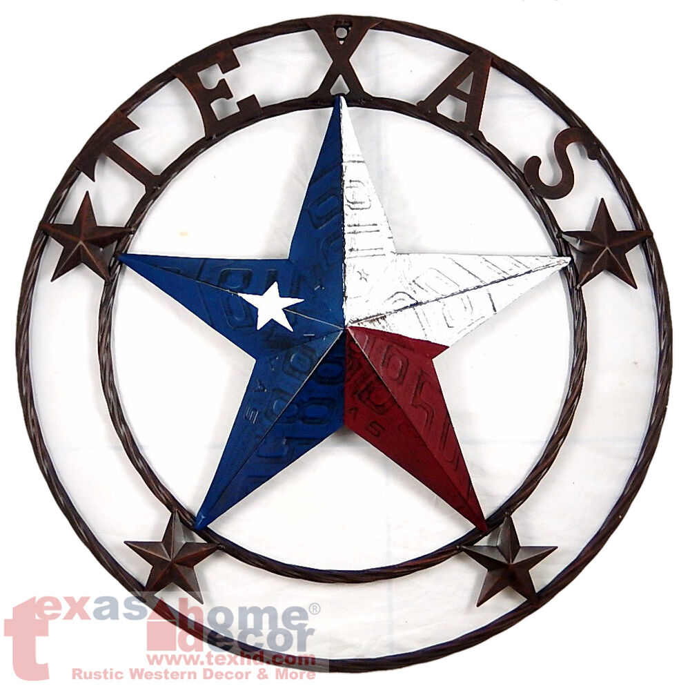 24 texas flag barn star metal embossed license plate western wall decor rustic ebay. Black Bedroom Furniture Sets. Home Design Ideas