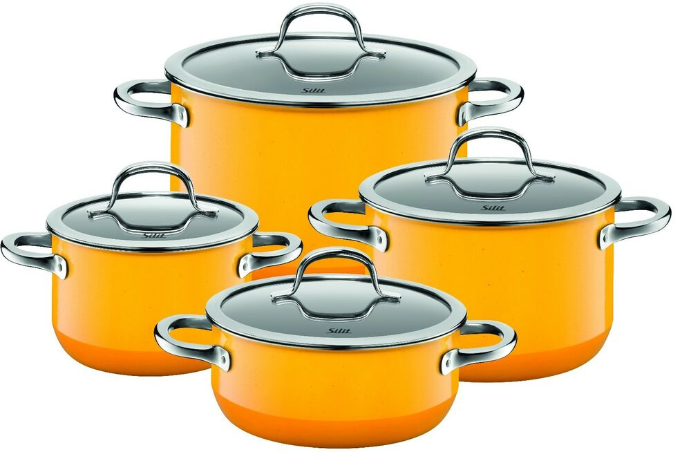 wmf silit passion 8 piece cookware set yellow made in germany ebay. Black Bedroom Furniture Sets. Home Design Ideas