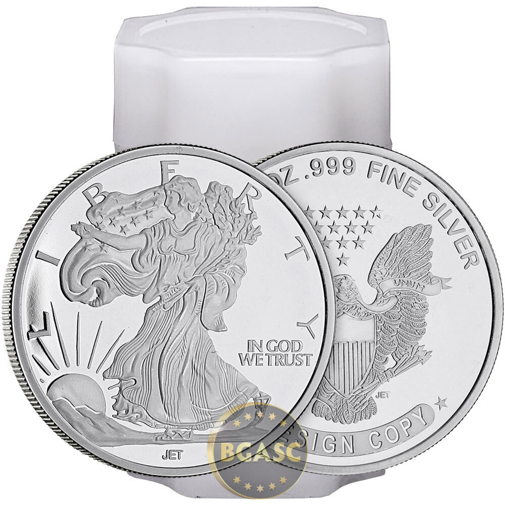 Tube Of Twenty 1 Oz Silver Rounds Walking Liberty Design