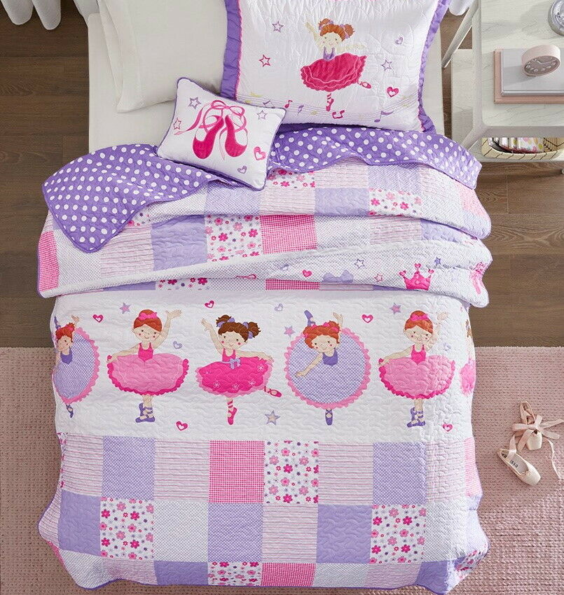Ballerina Dancer Full Queen Quilt Set Girls Pink Ballet