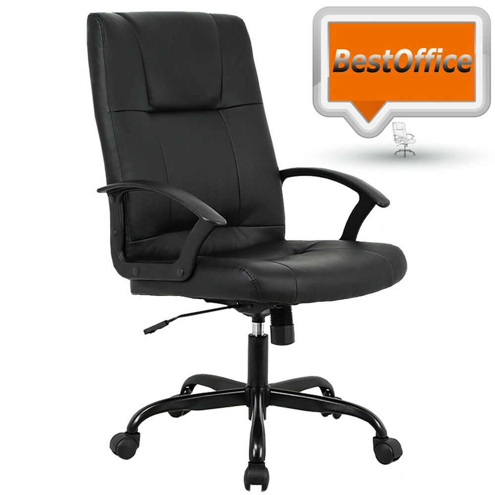 Black pu leather high back office chair executive best for Best office desk chairs