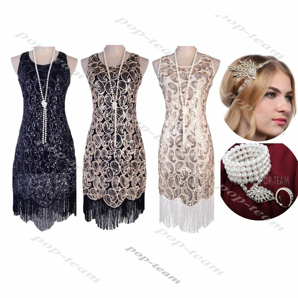 Gatsby Dresses: 1920s Flapper Dress Gatsby Sequin Tessel Dress Roaring 20s