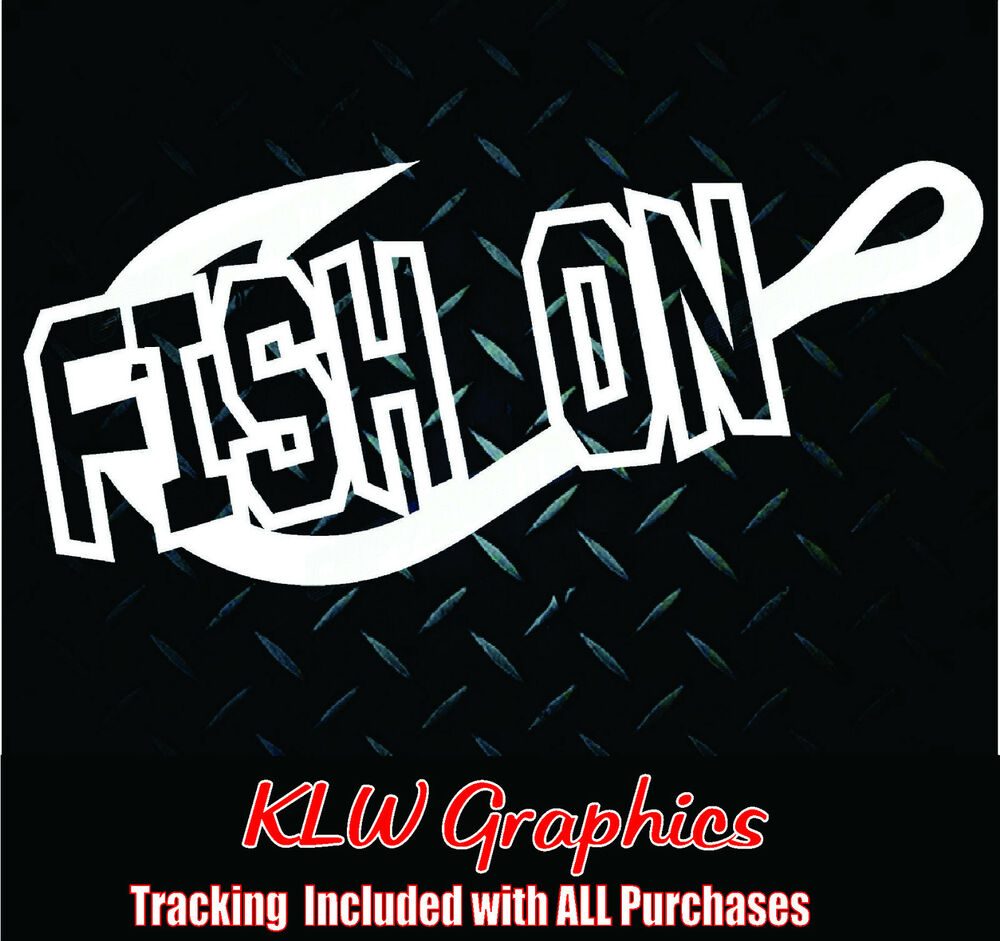 Fish on hook vinyl car boat diesel truck decal sticker for Fishing stickers for trucks