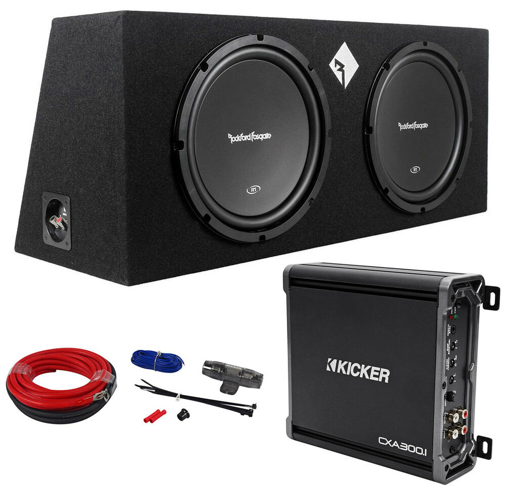 rockford fosgate r1 2x12 dual 12 quot  800w subwoofers enclosure amplifier amp kit ebay
