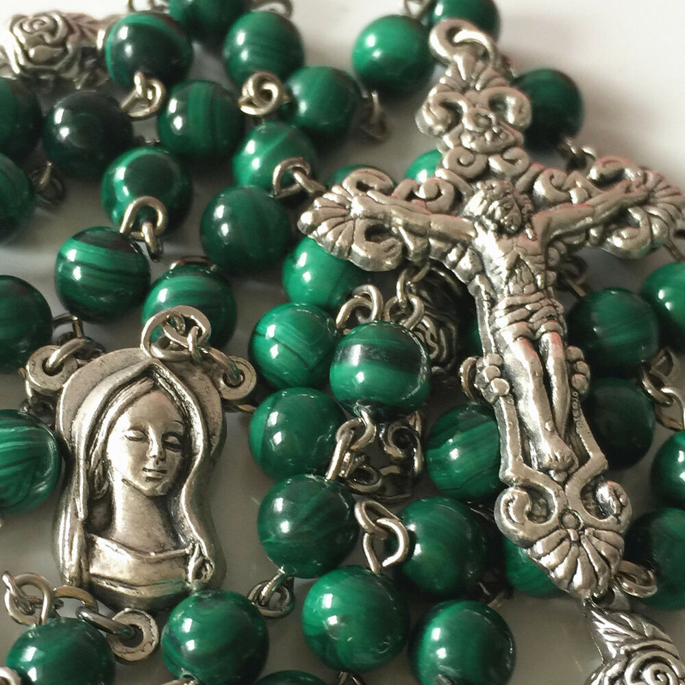 Natural 6MM Malachite & SILVER ROSE BEADS ROSARY & CROSS