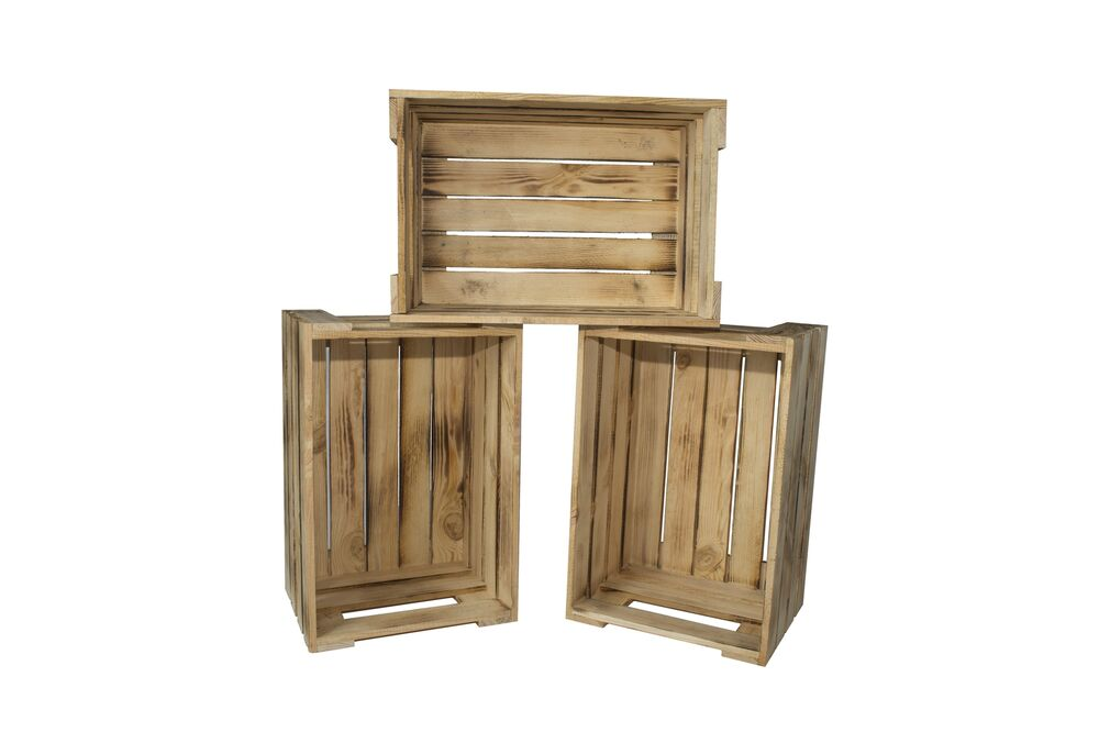 3er set weinkisten aus holz holzkiste obstkiste allzweckkiste rustikal 2 ebay. Black Bedroom Furniture Sets. Home Design Ideas