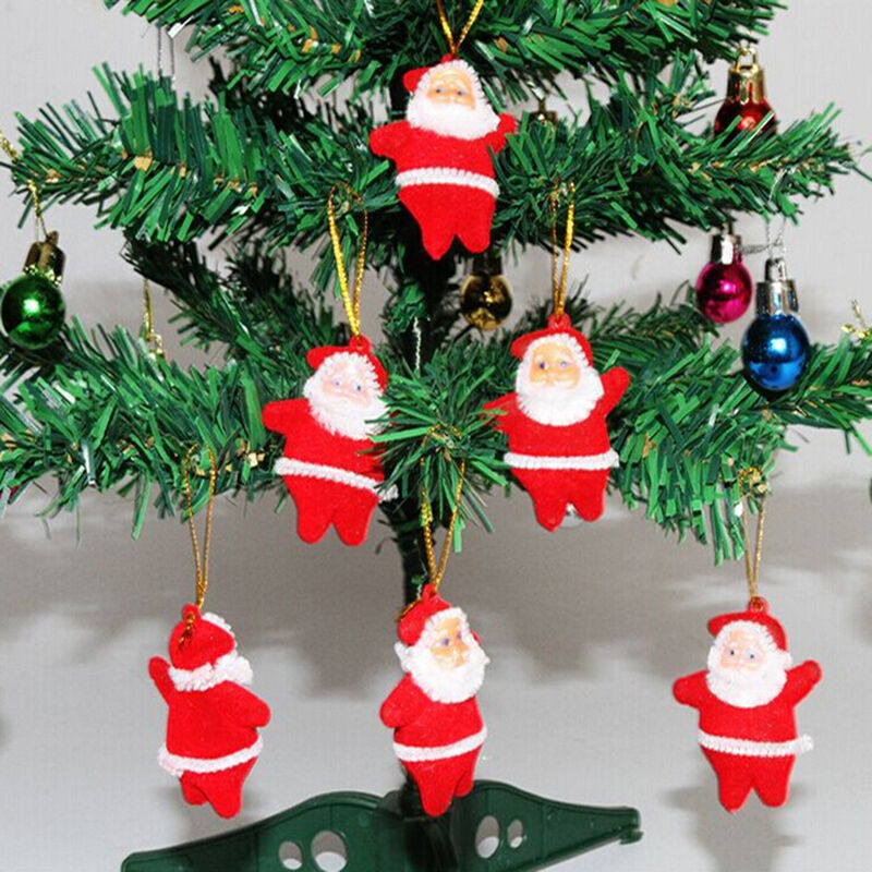 6Pcs/Set Mini Red Christmas Santa Claus Ornaments Xmas