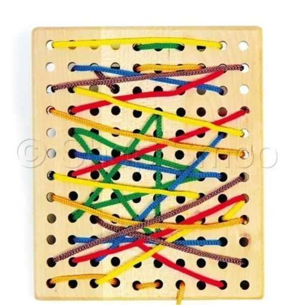 Wooden Threading Board Lacing Toy Educational Childrens Laces Game ...