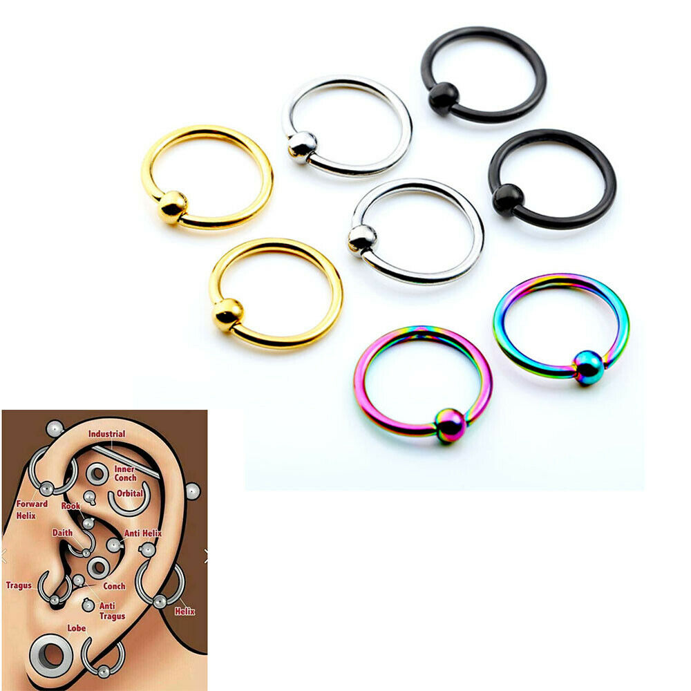 captive hoop earrings 8x 16g captive bead hoop ring earring ear cartilage 6019