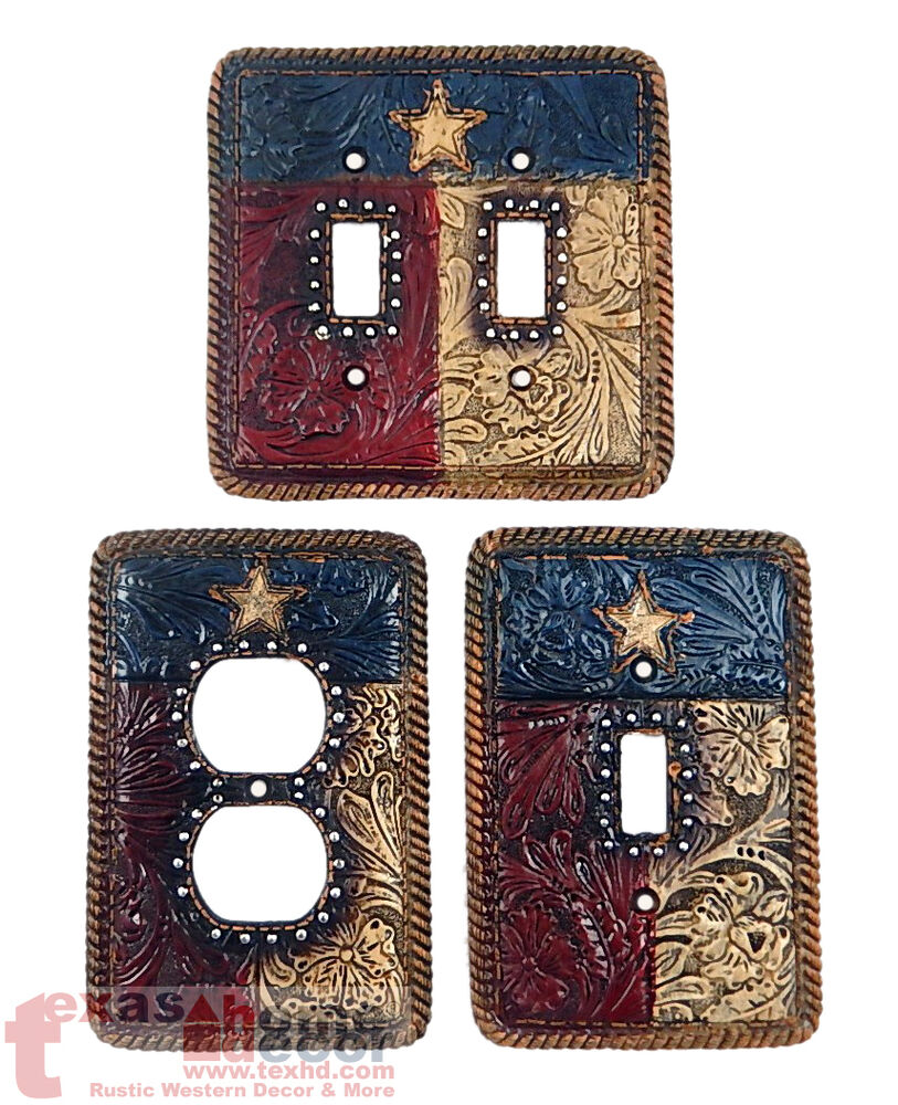 Rustic Floral Texas Flag Switch Plate Cover Star Rope