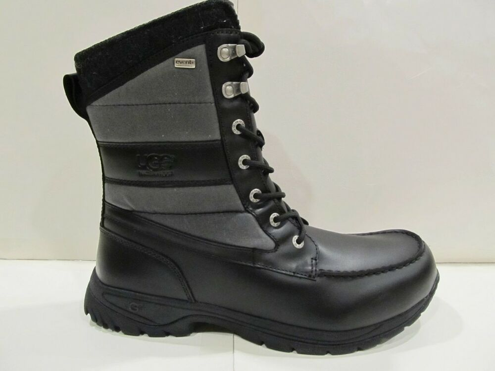 new with box mens ugg australia black leather canvas