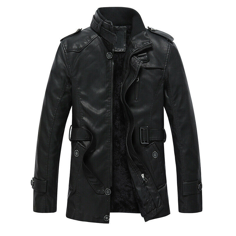 New Winter Thicken Men's Leather Faux Fur Warm Jackets ...