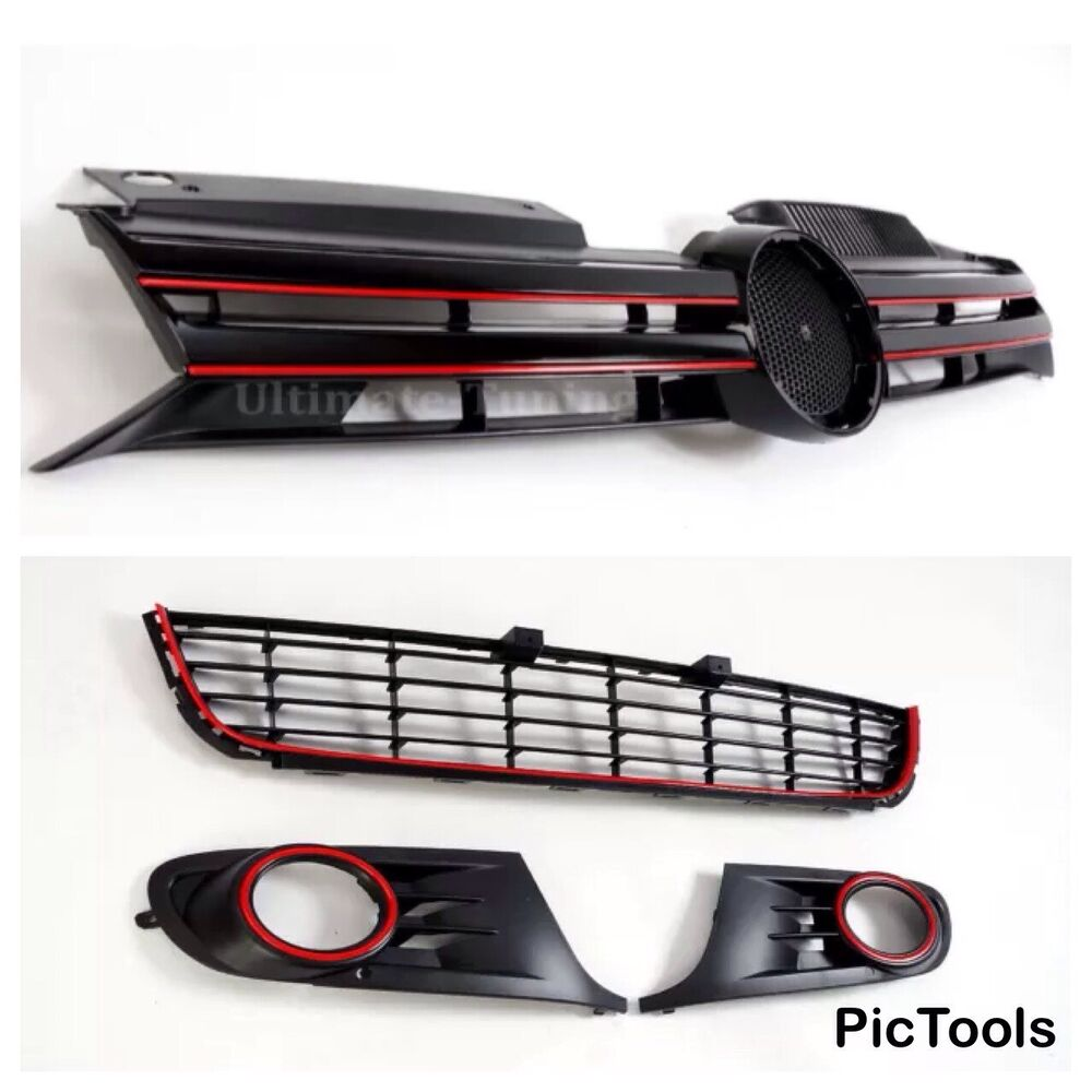vw golf mk6 4 piece grill set with red outline gti gtd r20. Black Bedroom Furniture Sets. Home Design Ideas