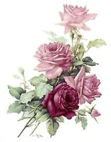 San Do Pink Rose Bouquet Flower Select-A-Size Ceramic Waterslide Decals Bx