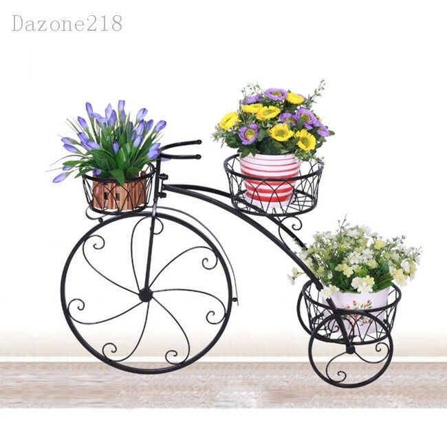 3 TIER BLACK Wrought Iron Bicycle Pot Plant Stand Home