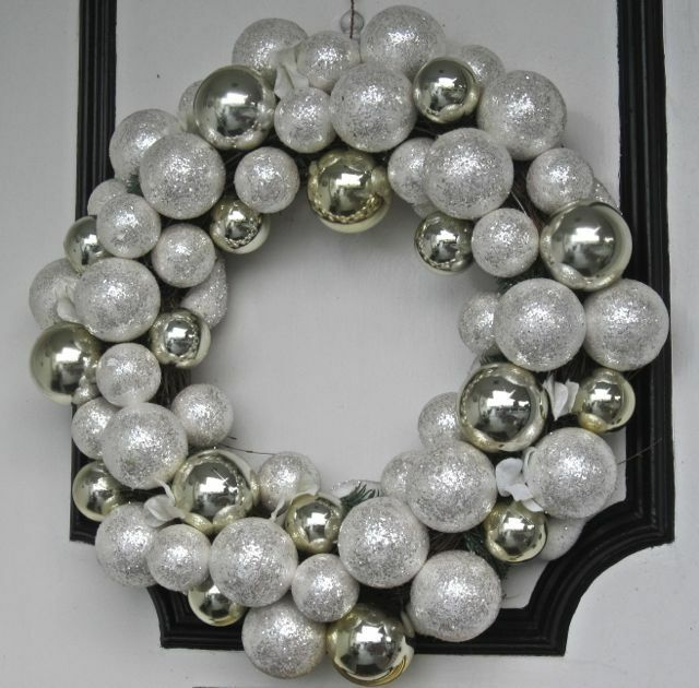"White Silver Ornament Silvers: New SILVER & WHITE (Faux Snow) 24"" Shatterproof BALL"