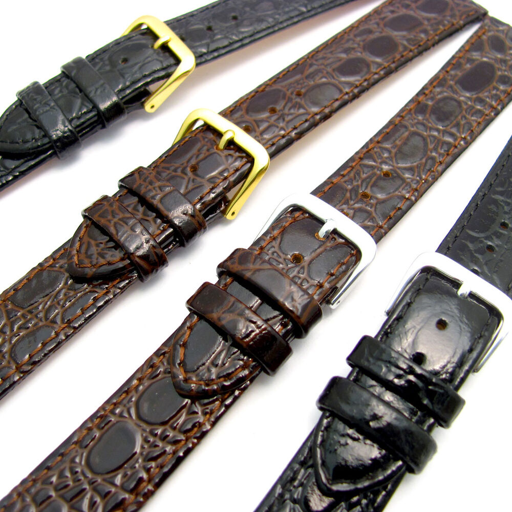 Replacement Watch Strap Band in Glossy Croc Grain Leather ...