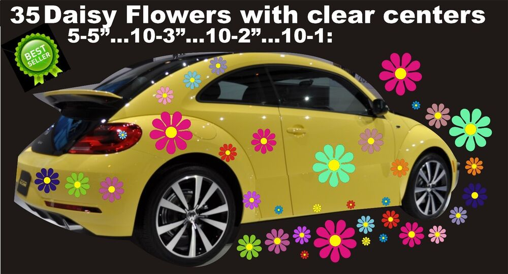 Daisy Flower Wall Stickers Vinyl Decals Retro Colors Car