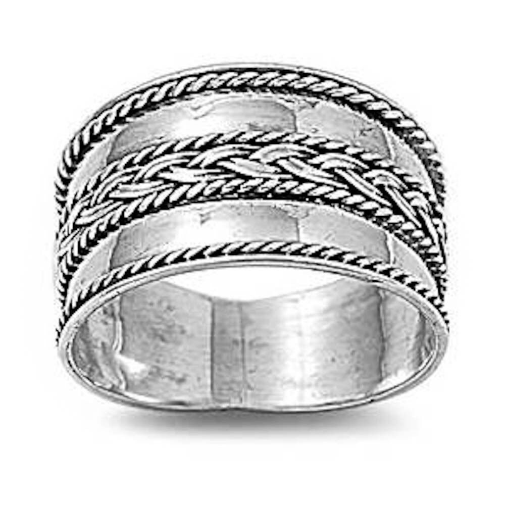 braided bali wide band 925 sterling silver ring sizes 6