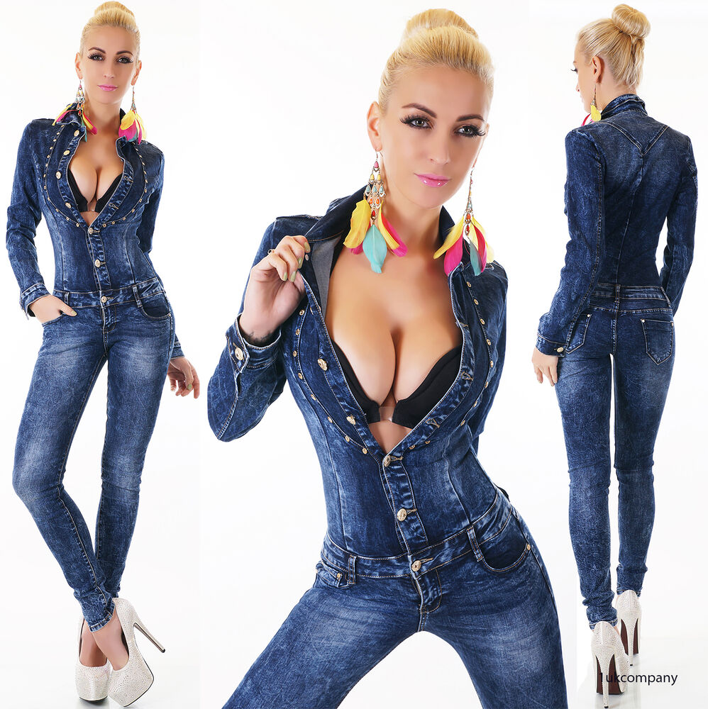 Sexy Women S Denim Jumpsuit Dark Blue Wash Catsuit Skinny Jeans Overall 6 14 Ebay