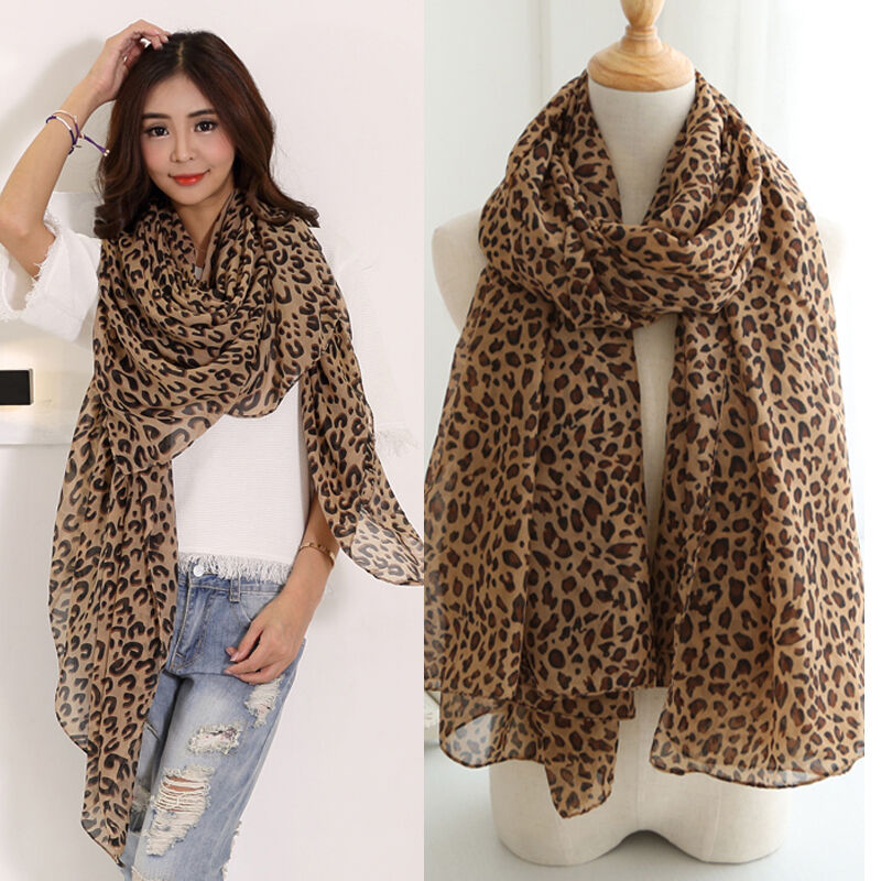 New Fashion Women Long Style Wrap Lady Shawl Leopard Chiffon Scarf Scarves Stole Ebay
