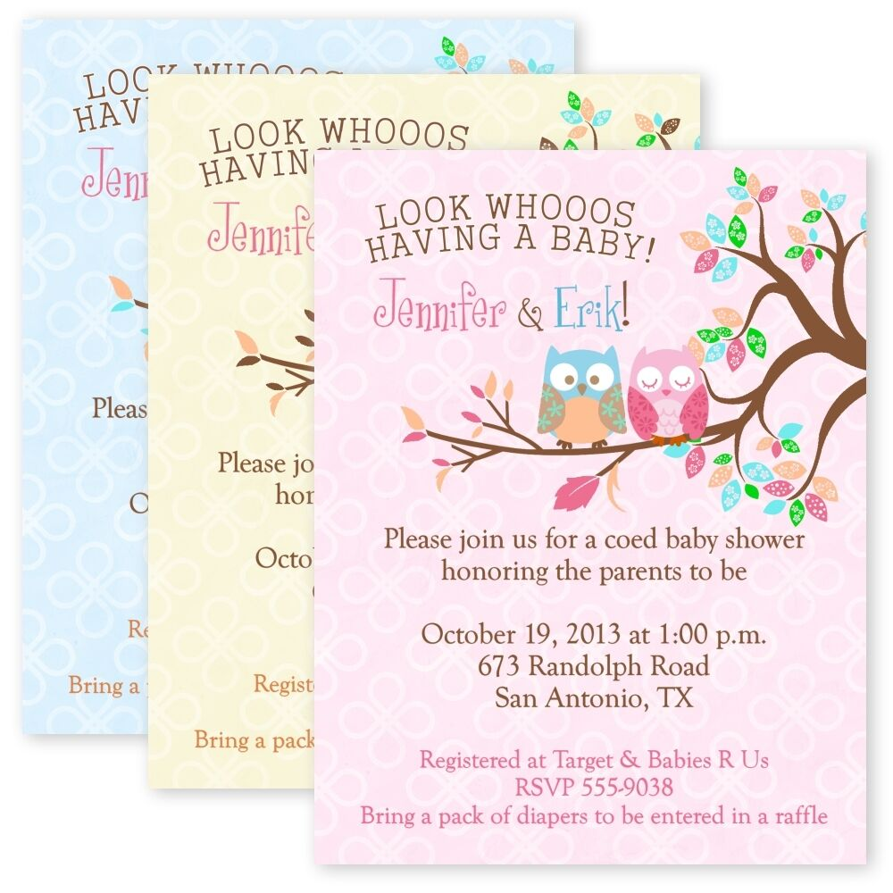 Owl Baby Shower Party Invitations Custom Personalized Invitation Owls Invitation