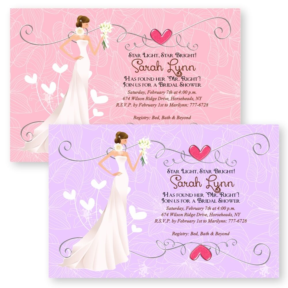 Personalized heart bridal shower invitations wedding for Brides wedding invitations
