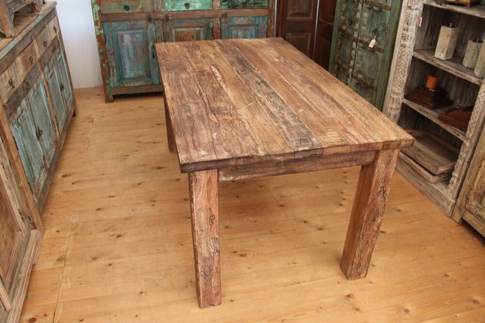 esstisch teak tisch recycling alt holz bauholz vintage massiv braun 200 cm ebay. Black Bedroom Furniture Sets. Home Design Ideas