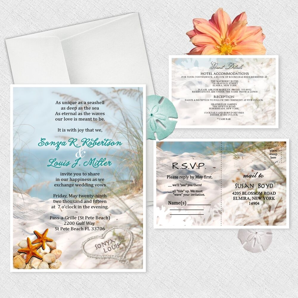 beach wedding invitation theme wedding invitations personalized bridal 1590