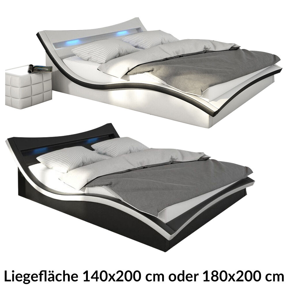 designer bett polsterbett doppelbett bettgestell futonbett mit led lattenrost ebay. Black Bedroom Furniture Sets. Home Design Ideas