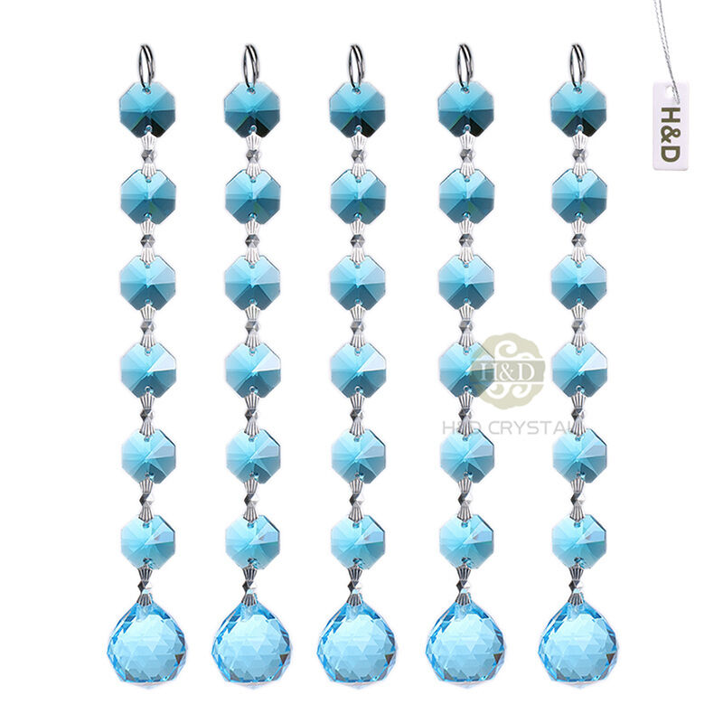 10 baby blue crystal prisms pendant chandelier part for Hanging ornaments from chandelier