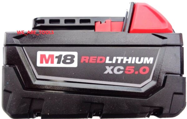 (1) New GENUINE 18V Milwaukee 48-11-1850 5.0 AH Battery M18 18 Volt XC 5.0 Red