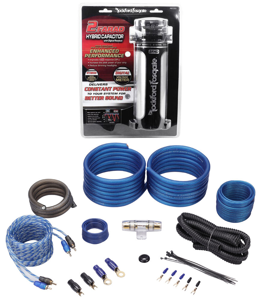 rockford fosgate rfc2d 2 farad digital car capacitor w meter 4 awg amp wire kit ebay