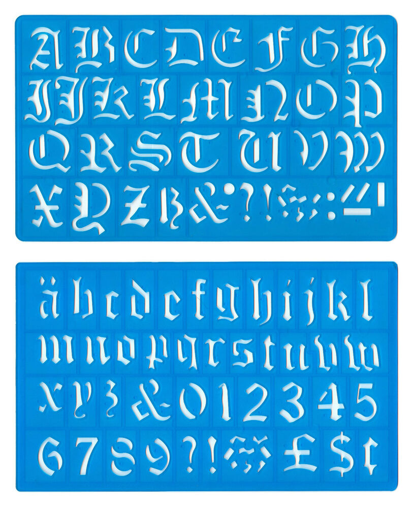 30mm OLD ENGLISH UPPER LOWER CASE ALPHABET NUMBERS STENCIL ... Old English Numbers Printable Free