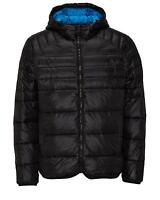 MENS JACK AND JONES QUILTED HOODED PUFFER FASHION JACKET / COAT - BLACK