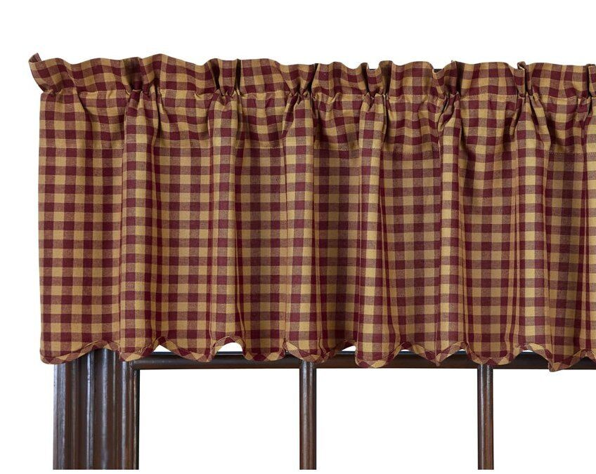 BURGUNDY CHECK VALANCE : PRIMITIVE TAN RED PLAID COUNTRY
