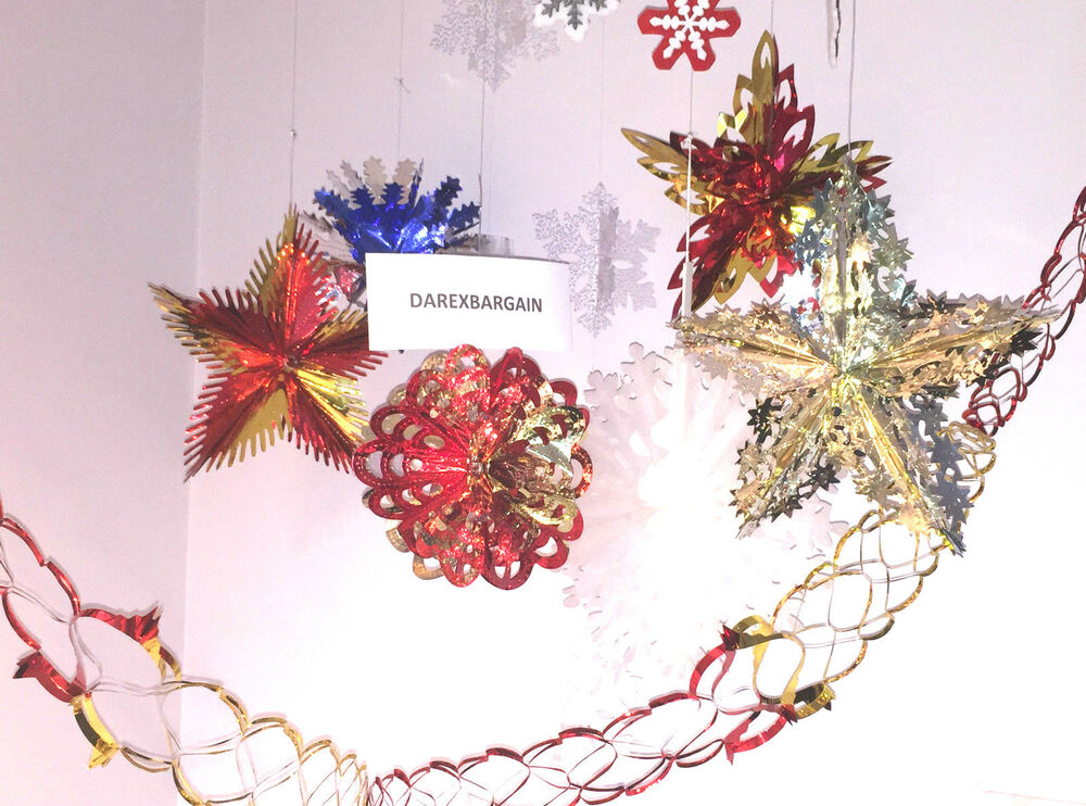 How To Make Paper Christmas Ceiling Decorations : New christmas xmas festive hanging ceiling fan decorations