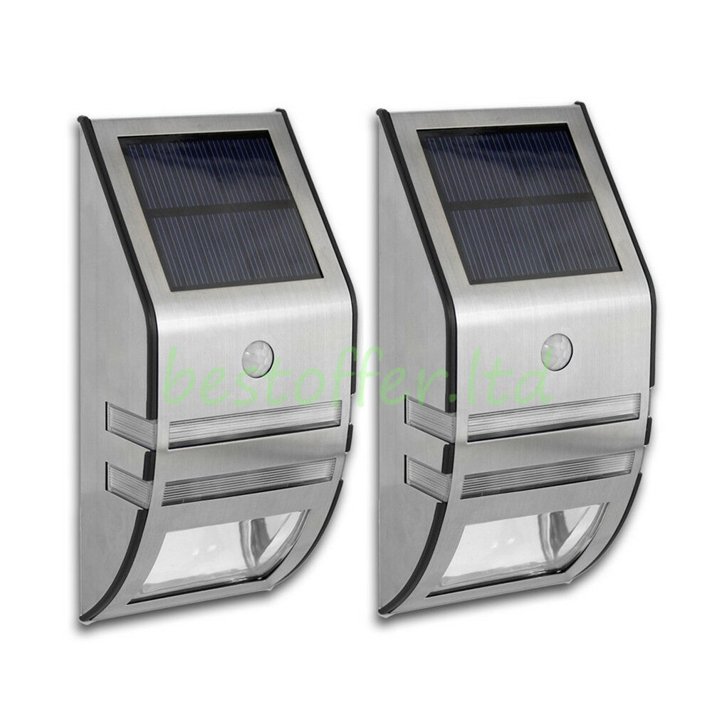 Stainless Steel Outdoor Wall Lights With Pir : 2xPIR Stainless Steel Outdoor Wall Light With Movement Sensor Solar LED Lamp eBay