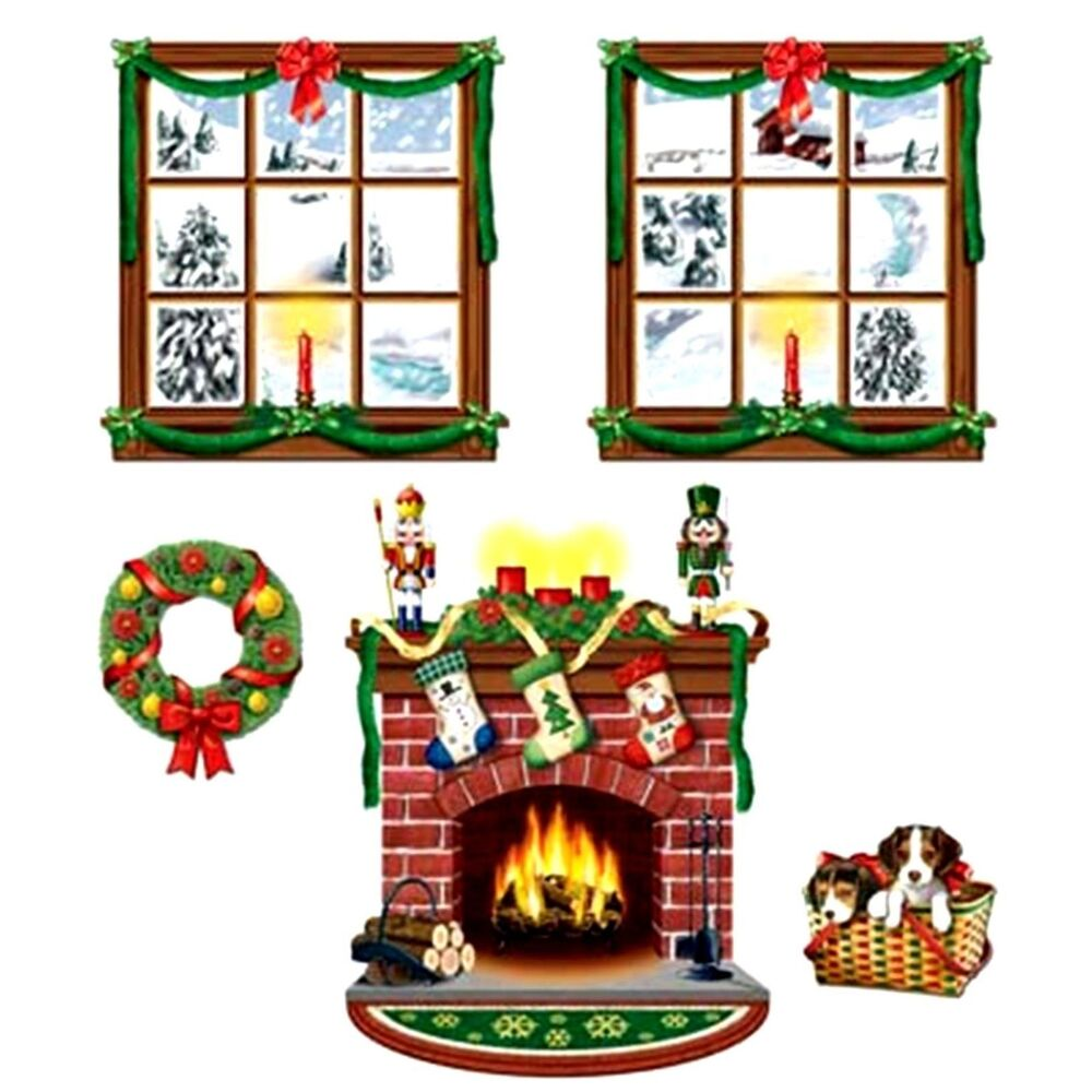 5pc Fireplace Wreath Wall Mural Holiday Christmas Scene ...